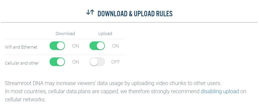 download and upload rules